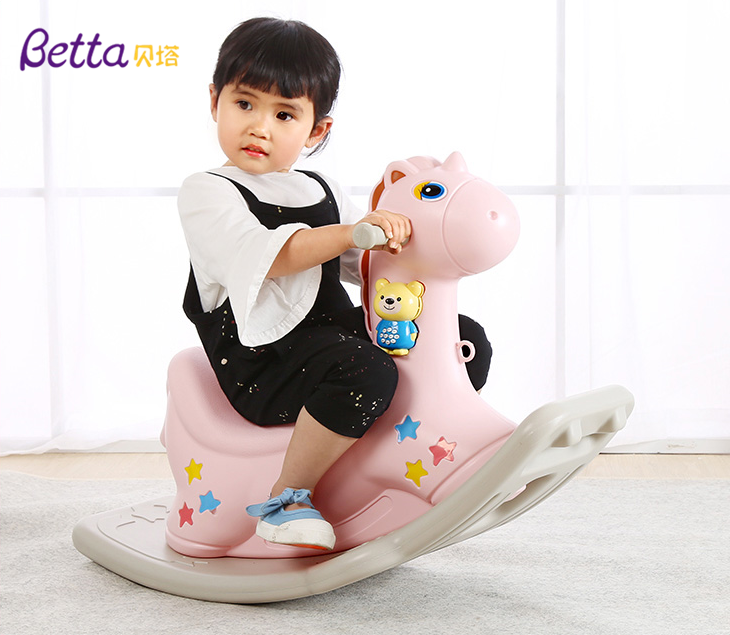 Lovely kids plastic cartoon ride on animals, rocking horse