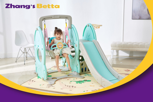 New Design Best Quality Modest Style Pastel Home Stay & Plastic Children Slide with Hoop Outdoor Playground Equipment Own Use