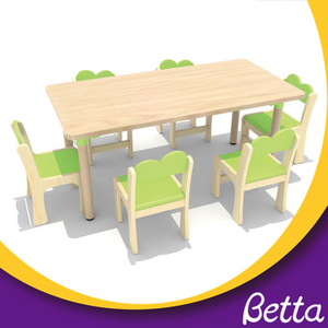 Combination kindergarten wooden study table with storage for kids
