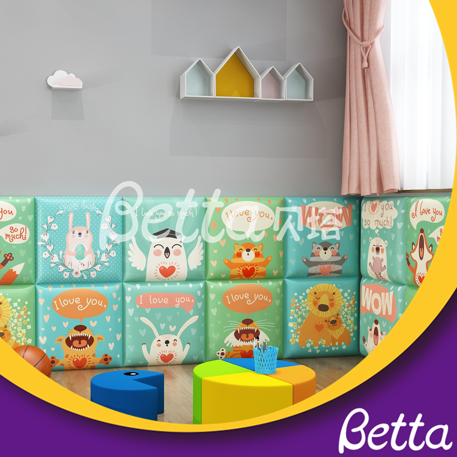 Safety Soft Wall Bumper Animals Wall for Children's Room Indoor Playground